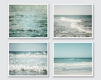 Beach Decor, Beach Print, Beach Prints, Set of 4 Prints or Canvas Art Set, Ocean Wall Decor, Ocean Print, Turquoise, Teal, Aqua.
