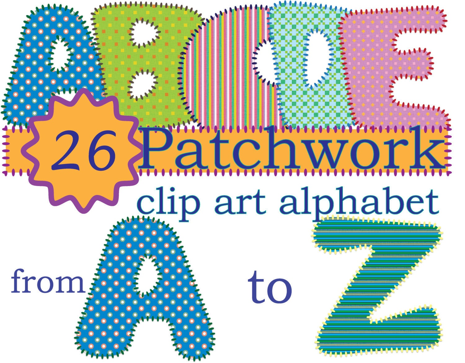 Instant Download Patched Quilt Alphabet Clip Art Stitch Effect