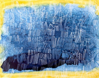 Azurite- art print from an original painting large blue abstract print yellow giclee art print yellow aura print abstract azurite stone blue