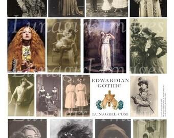 Feuille de collage numérique EDWARDIAN gothique, photos vintage art victorien steampunk femmes filles foncé romantique images bizarres spooky éphémères Télécharger