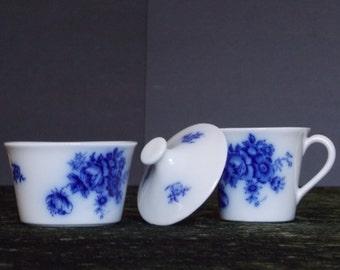 "FLOW BLUE GEFLE ""Rosina"" (Rare) covered Sugar Bowl and Creamer"
