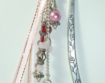 "Large bookmark silver jewelry ""Purple Ribbon heart"""