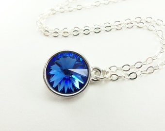 Sterling Silver Sapphire Necklace Blue Crystal Pendant September Birthstone Necklace Sapphire Crystal