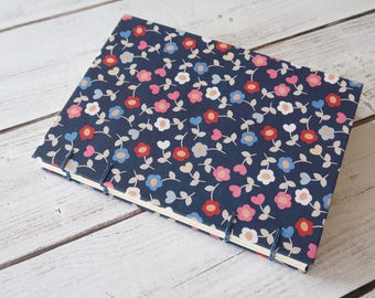 Flowers Hearts Coptic Notebook Coptic Journal Travel Notebook Blank Book Writing Journal Hardcover Hand Bound 160 Lined Cream Pages
