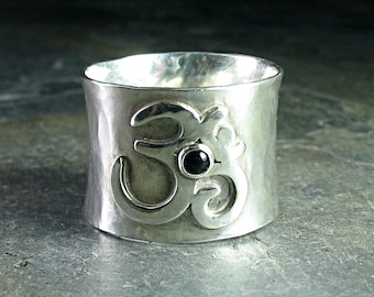 Ohm Ring, meditation ring, yoga jewelry, zen jewelry, wide band sterling silver - Peaceful Mind