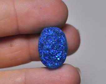 Natural Bright Blue Titanium Druzy Quartz Cabochon Gemstone Oval Shape Ring size 19x13x9 mm. 16.50 Cts.