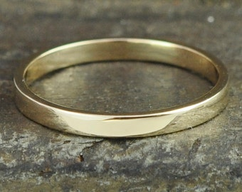 Yellow Gold Wedding Band, 14K Solid Gold Ring, 2x1mm Flat Edge Style