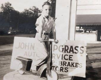 Little Boy on Scooter, John Piepgrass on Scooter Vintage Photo Auto Service Sign, Tulsa Oklahoma
