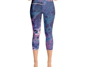Blue Moon Capri Yoga Pants, Yoga Leggings, Workout pants, Women's leggings, Girls leggings, Capri leggings, handmade, Galaxy leggings, art
