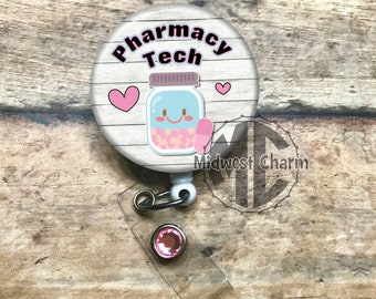 Pharmacy Tech hearts pink/blue..Personalized retractable badge reel with spring clip..teacher ..id badge...nursing..monogrammed badge holder