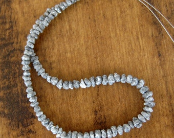 Sparkling Grey Natural Diamonds, Raw Diamond Beads, Drilled Beads, Uncut Beads, Rough Diamond, 4mm To 3mm Beads, 8 Inches Half Strand
