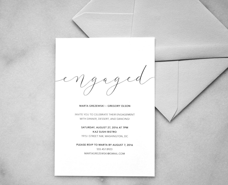 Printable Engagement Invitations Minimalist Wedding