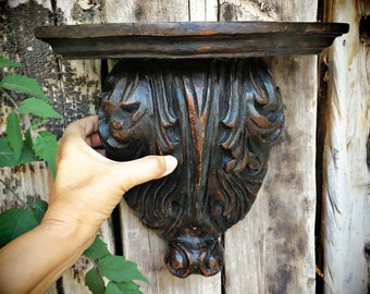 Vintage Carved Wood Corbel Shelf, Architectural Salvage Mexican Decor