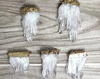 Natural Crystal Quartz Pendants // Gold Drusy Crystal // Drussy Quartz Pendant with Gold Electroplated Double Bail B552