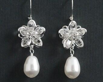 Crystal Pearl Earrings -- Crystal Flower Bridal Earrings, Silver Wedding Earrings, Swarovski Crystal Earrings, Pearl Jewelry -- OLIVIA