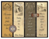 Spooky Bookmark Printable 4 Quotes Goth Emo Cemetery Grave Tomb Photos Halloween Party Favors Creepy Wicked Monster Bram Stoker Shakespeare