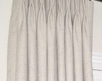 9 colors Linen pinch pleated drapes, Pinch pleated curtains, Pleated linen draperies, Fully lined pair, Pleated curtains, Pleated panels