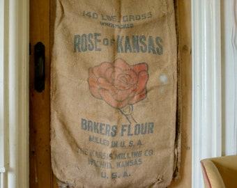 Vintage American Flour Sack - Rose of Kansas