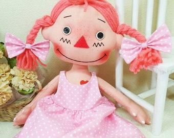 "13.5"" Pigtails Annie Cloth Rag Doll Pattern,Primitive Doll Pattern, Raggedy Ann Pattern,PDF Doll Pattern, Digital Download, Instant Download"