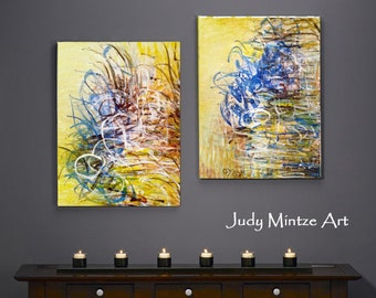 Sale! Original Paintings, Abstract Art, Modern Art, Abstract Set of (2) Paintings, Handmade Art, 12x16 Original Wall Art