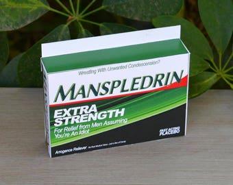 Manspledrin - Relief from Mansplaining Joke Candy Box! - Download & Print | Mansplain | Gag Gift | Gifts for Dad | Feminist Gift