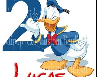 Donald Duck white shirt sleeve  Birthday Shirt*