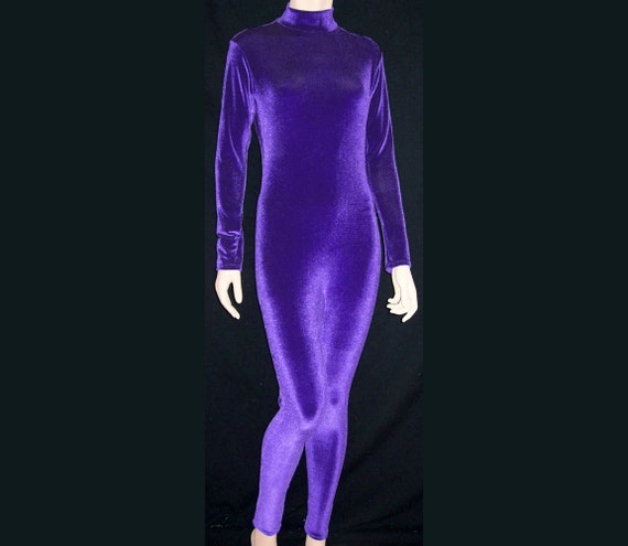 Purple Stretch Velvet Unitard Catsuit Bodysuit Jumpsuit