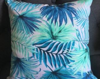 Aqua Palm Cushion Cover