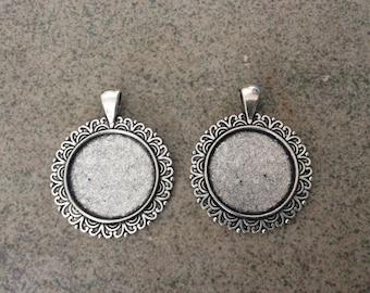 25mm antique silver cabochon pendant tray settings bulk  DIY earrings, jewelry making