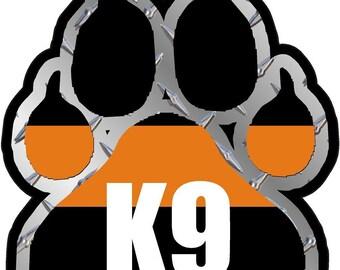 "Magnet 3"" Sar K-9 Paw Decal Search Rescue Dog Unit Thin Orange Line Vinyl Magnetic Sticker"