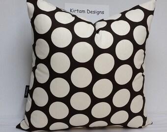 "Polka dot pillow, 18"" square, large dots, black and white pillow, black and white cushion,"