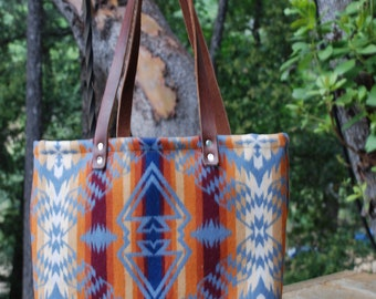 Pendleton Wool With Canvas and Leather Straps Tote Bag