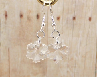Earrings - Crystal Snowflakes - Icy Clear