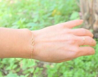 Best friend gift - Mother's Bracelet -  Gold Infinity Bracelet - sisters for infintiy, friendship infinity