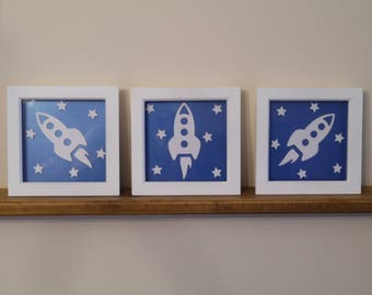 """Set of 3 Box Frame 3D Rocketship pictures, 6"""" x 6"""" or 8"""" x 8"""" frames, Nursery decor, Space theme, Boys bedroom decor, New baby gift, FRAMED"""