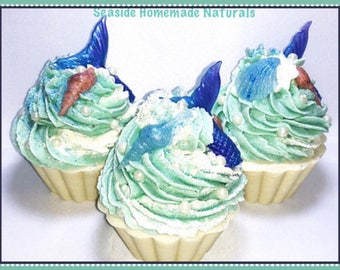 MERMAIDS WISH Cupcake Soap made using Cold Process method | Organic Shea and Cocoa Butter | Siren Blue | Mermaid Artisan Soap | Gift for Her