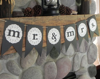 Rustic Mr. and Mrs. Wedding Banner---Ready to Ship