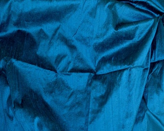 Silk dupioni in  Teal with black, Extra wide  54 inches , Half yard, DEX  338