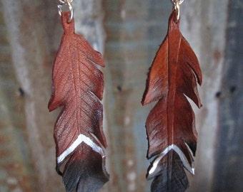 Leather Feather Earrings, Feather Earrings, Leather Earring, Earrings