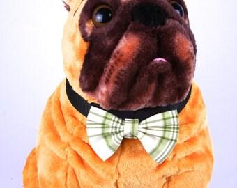 Bow Tie, Dog Bow Tie, Pet Neckwear, Dog Accessories, AnnabelsAccessories, Pet Accessories, Pet Neck Tie, Dog Clothing, Green & Cream Plaid