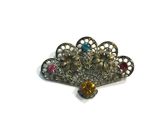 Filigree Fan Brooch, Gold Tone Brooch with Colored Rhinestones, Costume Jewelry