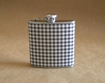 Black and White Gingham Print 6 ounce Stainless Steel Gift Flask KR2D 4275