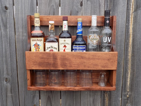 wall mount liquor rack with shelf which holds up to 6 bottles. Black Bedroom Furniture Sets. Home Design Ideas