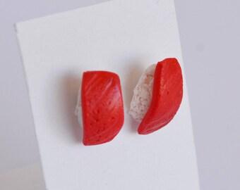 Tuna Sushi - polymer clay earrings