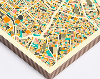 AMSTERDAM MAP (Ready to Hang, Birch Wood Print for your Home Décor) ivory version