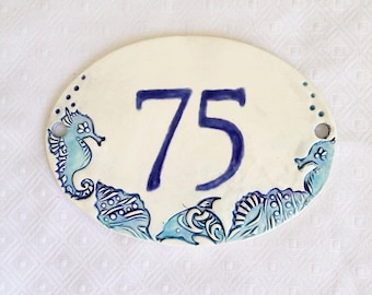 House Numbers Sign - Beach Address Plaque - Ceramic Address Sign - New Home Address - Home Address  - Home Address - Number Sign - Home Sign