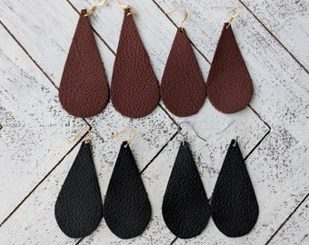 Leather Teardrop Earrings, Teardrop Earrings, Genuine Leather, Leather Earrings, Lightweight Leather Earrings, Handmade Earrings