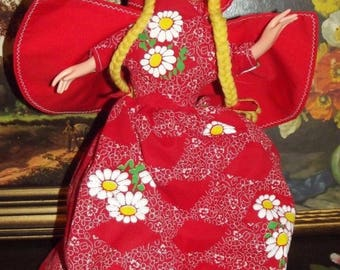 Vintage Little Red Riding Hood Big Bad Wolf and Grandma Topsy Turvy Doll