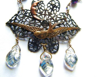 The Blackest Blackbird-Soaring Raven Necklace with Moon, Silver Leaves, Filligree and Crystals