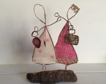 Best Friends ,mother & daughter ,sister Wire Sculpture quirky